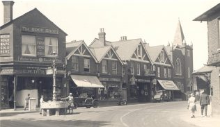Basingstoke PM Chapel, to the right of the picture, shown in the context of the surrounding shops. | Supplied by David Young with acknowledgement to Basingstoke History Facebook Group