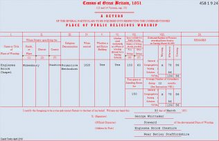 1851 Census report for Englesea Brook Primitive Methodist chapel   provided by David Tonks