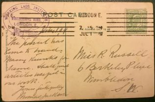 Reverse of postcard sent by Thomas Jackson from the Working Lads' Institute | Rev Steven Wild