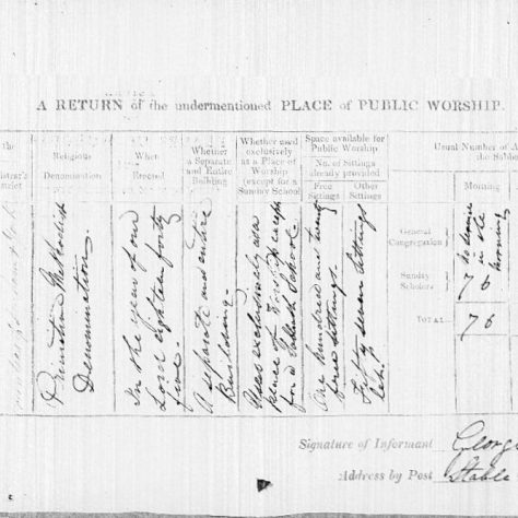 Return from the 1851 Census of Places of Public Religious Worship for Bowlees Primitive Methodist chapel | provided by David Tonks