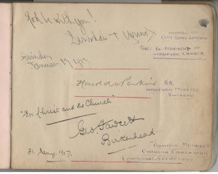 George Fawcett's signature  from Bramwell Hill's autograph book, 1917 | Christopher Hill 2020