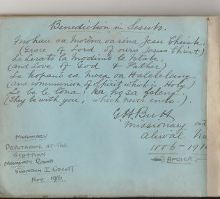 benediction in Sesuto, with missionary George Butt's signature from Bramwell Hill's autograph book 1916   Christopher Hill 2020