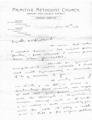First page of a letter sent by John Bradbury to Joseph Farrow Redhead, June 1908 (see comment below for the story behind the letter) | David Redhead