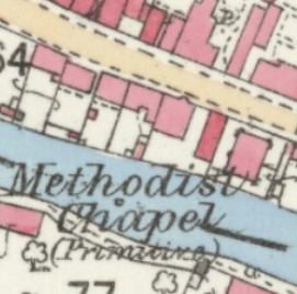 The ground plan of Deeping St James, Bridge Street PM Chapel | G.W. Oxley reproduced with the permission of the National Library of Scotland (Map images website)
