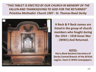 Two of Jessie Beck's sons names are on the St Thomas Road 1907 Primitive Methodist church WWI Memorial in