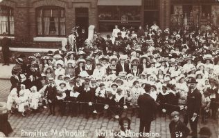 Droylsden Primitive Methodist chapel Whit Week Procession: from an undated postcard  | provided by Randle Knight