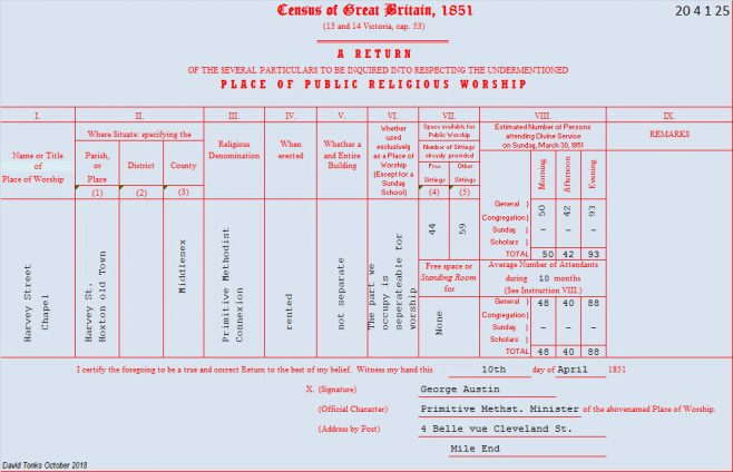 1851 Religious Places of Worship Census for Harvey St Primitive Methodist chapel  | provided by David Tonks