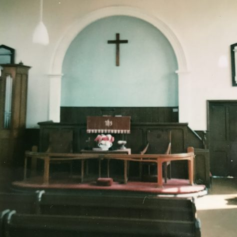 later picture of the interior of 1864 Saughall  Primitive Methodist chapel: the text has gone | provided by Alison Dean