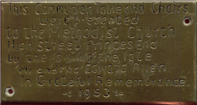 Brass plaque from the communion table at Princes End High Street Methodist church, given  by the family of Mr & Mrs Edward Allen in 1953 | Provided by Clive Davies