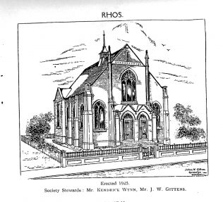 Picture of Rhos Chapel from a Circuit Centenary leaflet - identified in November 2018. | David Young