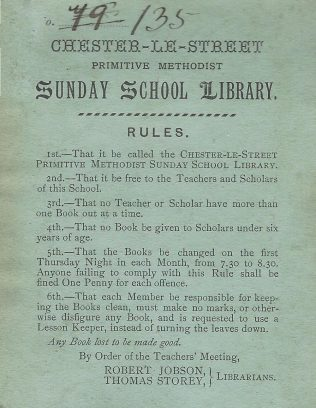Chester le Street Sunday school library rules | provided by Randle Knight