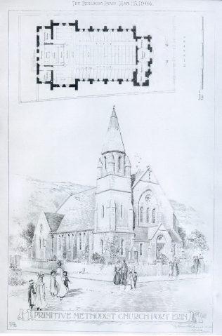 Architect's drawing of Port Erin Primitive Methodist chapel | The Building News vol. 86, Jan.-June 1904, p446