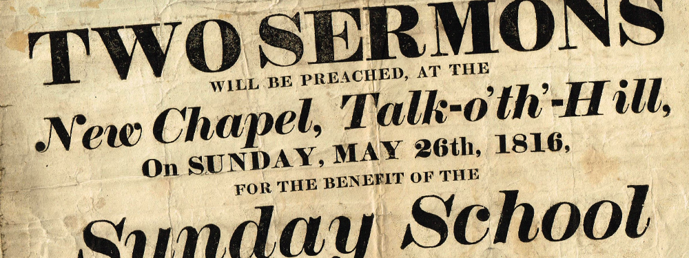 Slideshow image: Poster for James Steele sermons, 1816