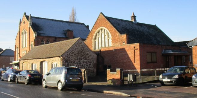 Former Primitive Methodist chapel at Thurmaston together with the adjacent Sunday School, which was later used as the worship area. | Christopher Hill January 2019