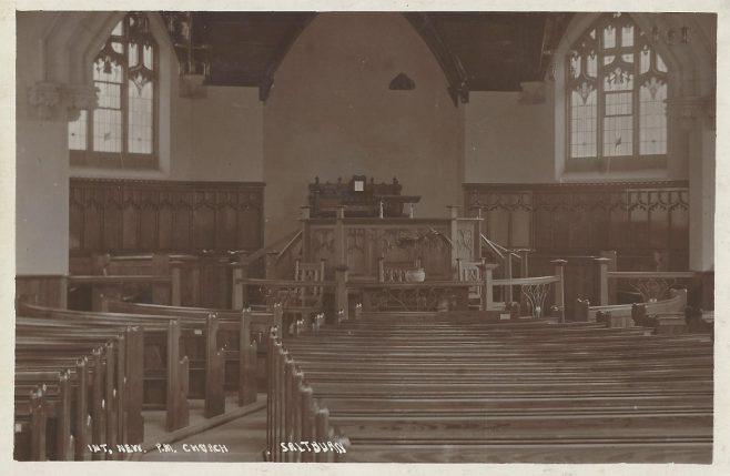 Saltburn by the Sea Primitive Methodist Church: interior from an undated postcard  | provided by Randle Knight