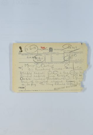 Telegram received by his widow telling of his death.