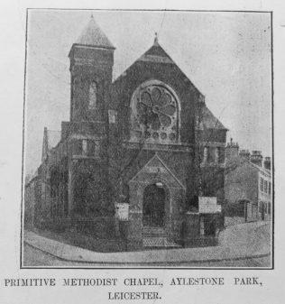 Aylestone Park Primitive Methodist chapel   Primitive Methodist Magazine1907/529