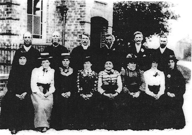Sunday School staff outside the chapel