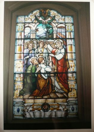 Stained glass window given to Jubilee Chapel by George Goodwin in 1931 to commemorate his golden wedding.