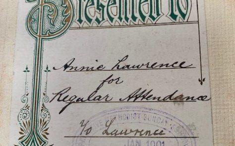 Annie Lawrence, Copster Hill Primitive Methodist Sunday School, 1901
