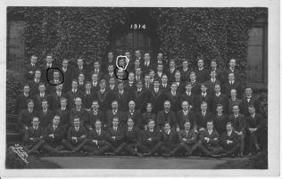Marked Copy of the 1914 Hartley College Photograph. My grandfather is circled in white and I assure that the two circled in black are george Bell and Charles Sheldrake. Charles is in the front of my grandfather.