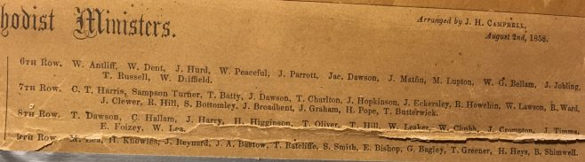 index of the ministers in rows 6 - 9  of the 1858 composite picture | from the family of the Rev Thomas Charlton