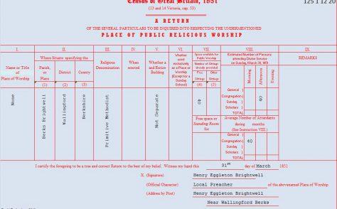 Brightwell 1851 census return