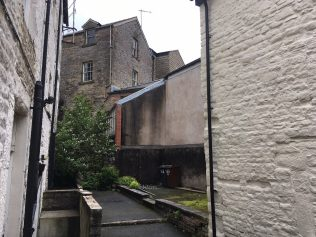 yard accessed from the rear left corner of Primitive Court, Buxton   Christopher Hill 2019