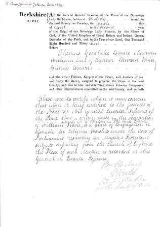 Yattendon, Berkshire Certificate 1839