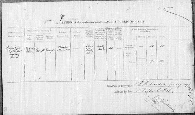 Return from Monk Heselden Primitive Methodist preaching place in the 1851 Census of Places of Public Religious Worship | provided by David Tonks 2020