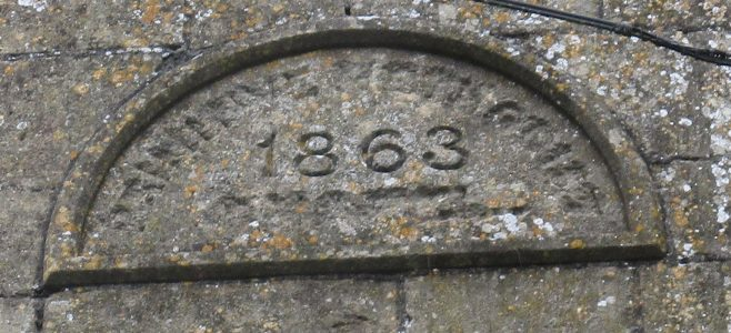 Downhead Primitive Methodist chapel datestone: 1863.   Christopher Hill August 2021