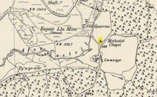 Map showing Cwmergyr Primitive Methodist Chapel