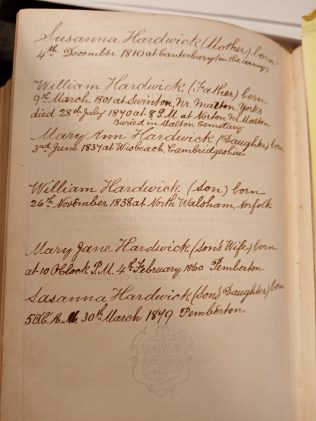 Details of the Hardwick family from William's bible | Jean Hague