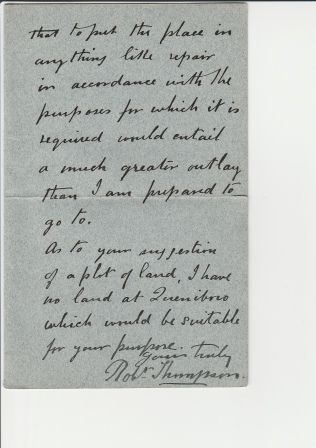 Queniborough - letter indicating search for land page 2   Mary Bryceland