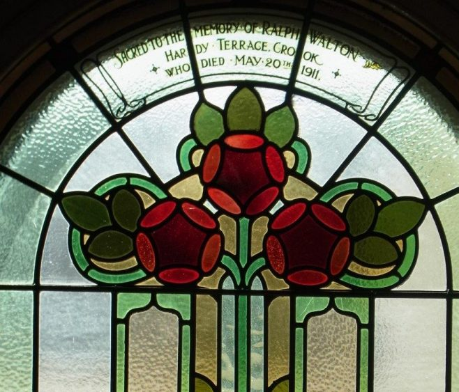 Crook Dawson Street PM chapel memorial window to Ralph Walton | Christopher Humble 2020