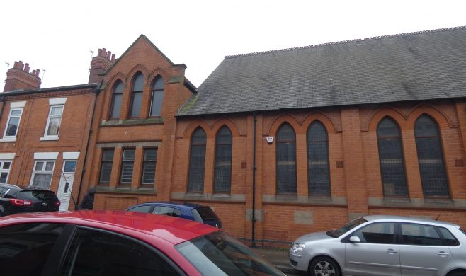 former Humberstone Road Primitive Methodist chapel and Sunday School, Leicester viewed from Parry Street | Charles de Podesta February 2021