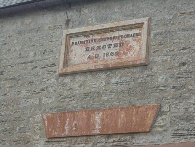 1864 Copley Primitive Methodist chapel date stone | Linda Robertson July 2020