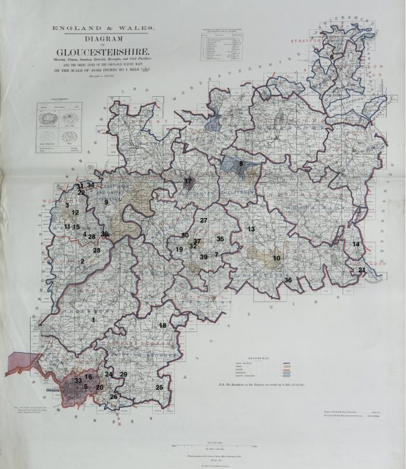 Location of Primitive Methodist chapels in Gloucestershire 1867 | This work incorporates historical material provided by the Great Britain Historical GIS Project and the University of Portsmouth through their web site A Vision of Britain through Time (https://www.VisionofBritain.org.uk).