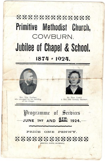 Cowburn Jubilee celebration leaflet | provided by Richard Jennings