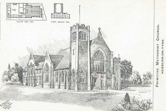 Hebbern on Tyne Primitive Methodist chapel: undated postcard showing architects drawing of the church | provided by Randle Knight
