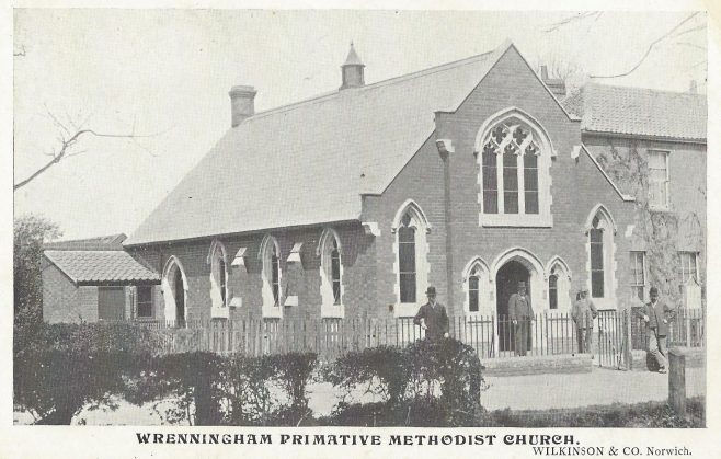Wreningham Primitive Methodist chapel: from an undated postcard   provided by Randle Knight