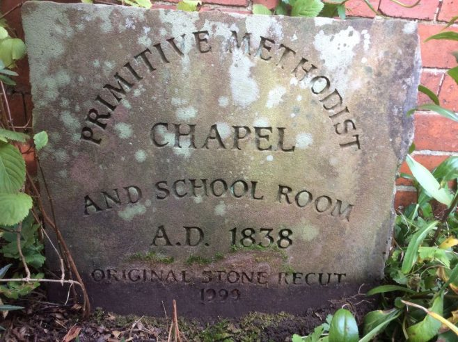 Willaston (Wirral) PM chapel 1838: r3ecarved datestone. | Christopher Wells September 2020