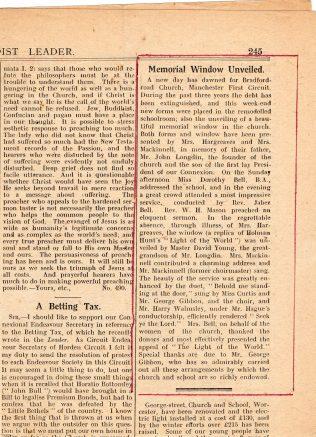 Article in the primitive Methodist leader 22 April 1926
