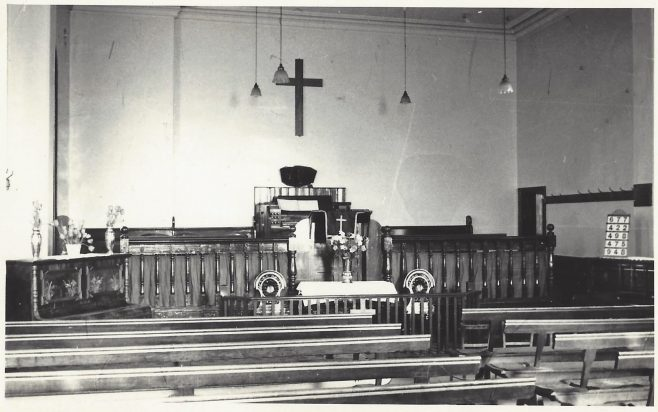 Far Royds Primitive Methodist Chapel interior   Englesea Brook postcard collection ENBPM:2020.106