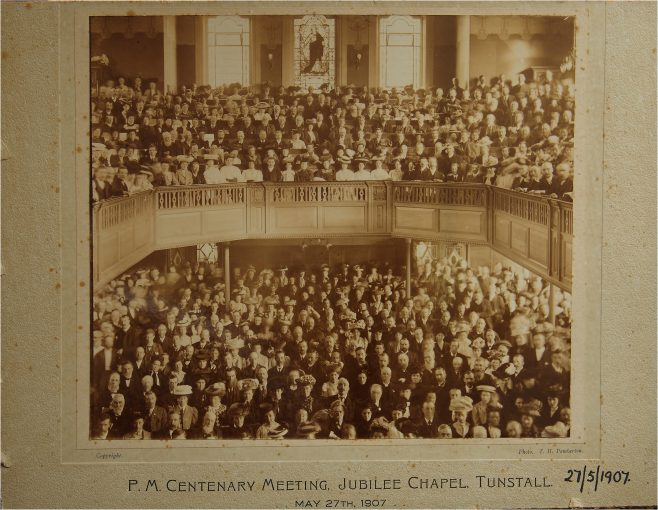 Primitive Methodist Centenary Meeting in the Tunstall Jubilee Chapel, May 27th 1907 | provided by John Riley