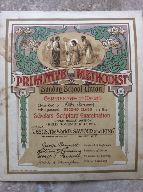 1914 Sunday school certificate of merit