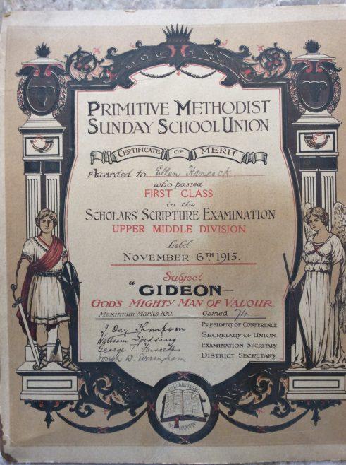 1915 Sunday school certificate of merit