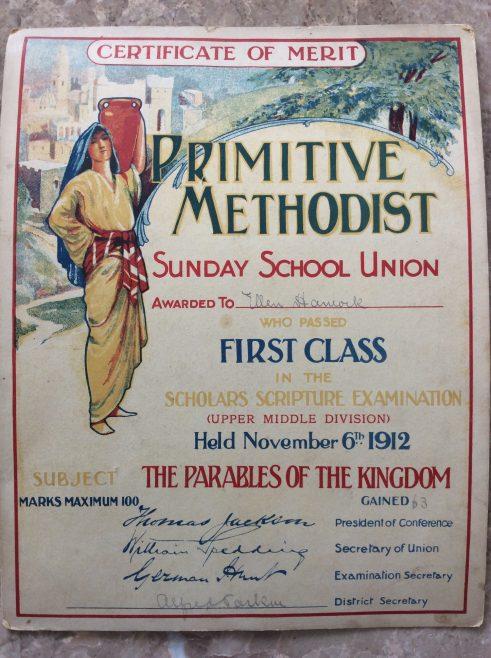 1912 Sunday school certificate of merit
