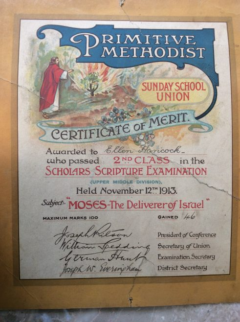 1913 Sunday school certificate of merit