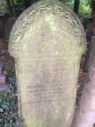 Rev Edward Aston gravestone 1911: Hull General Cemetery | Christopher Hill September 2020